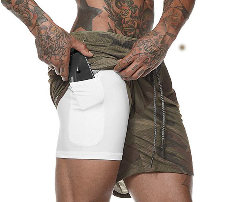 Men's 2 In 1 Running Shorts Mens Sports Shorts Quick Drying Training Exercise Joggers Gym Shorts With Built-in Pocket Liner