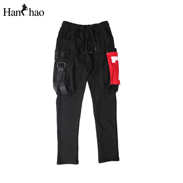 Rojo 7 patchwork bolsillos grandes pantalones harén hombres 2017 terry material cordón hip hop pantalones de chándal para hombre pantalones negro gris