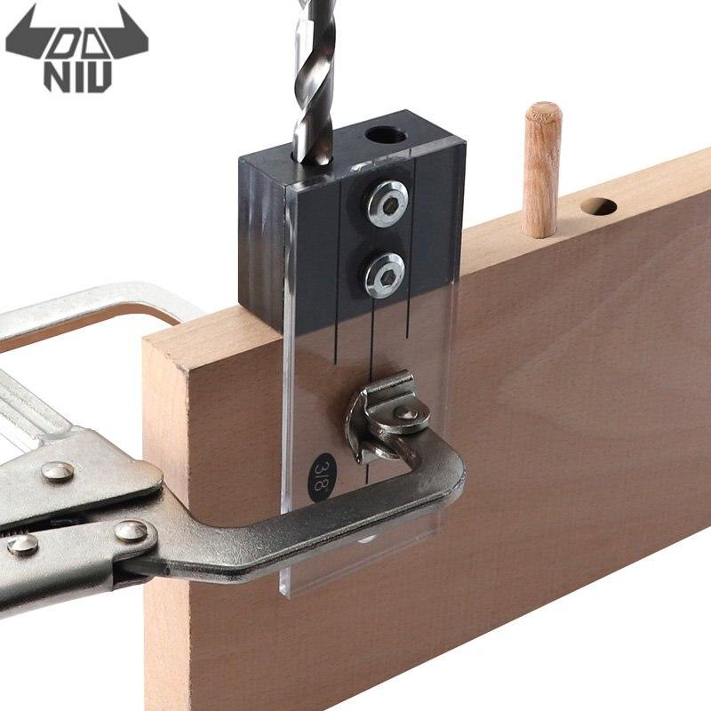 DANIU дюбель джиг акриловая закаленная сталь карманное отверстие джиг 1/2 3/8 1/4 дюйма вертикальное сверло направляющее отверстие локатор для де...