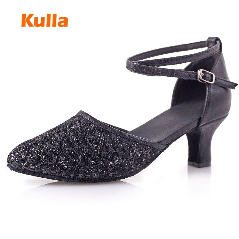 2018 Tumit Tinggi Glitter Wanita Sepatu Dansa Latin wanita Ballroom - Sepatu kets - Foto 2