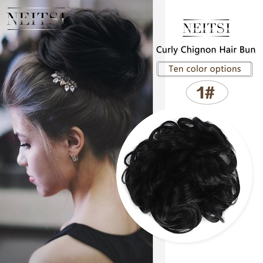 Neitsi Women Curly Chignon Hair Bun for Brides 10 Colors Synthetic High Extensions Ponytail Hair Bundles Hairpieces Hair Buns 1 in Braid Maintenance from Beauty Health