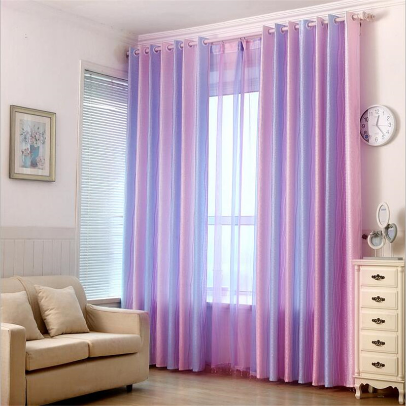 Purple Striped Blackout Curtains For Living Room Window
