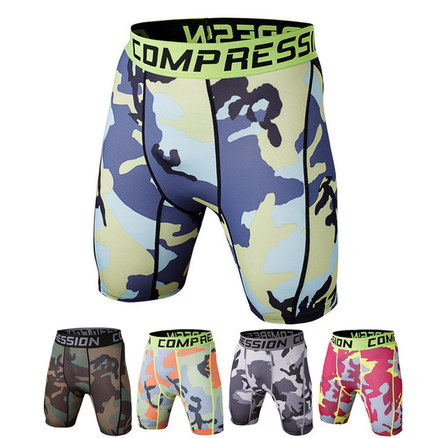 Compression Men Short Bodybuilding Tight  Fitness Short Skinny Elastic Waist Short layer 2017 Fashion Quick Dry ZOOTOP BEAR