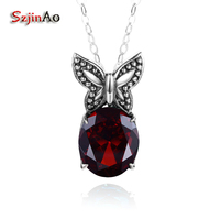 Szjinao Pure 925 Sterling Silver Butterfly Pendant Necklaces for Women Lab Garnet Choker Pendant Jewelry Wedding Decoration