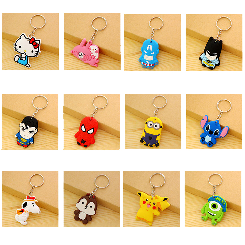 suti Cute Cartoon Anime Silicone Keyring Stitch Keychain Women Key Chain Key Ring Key Holder good gift