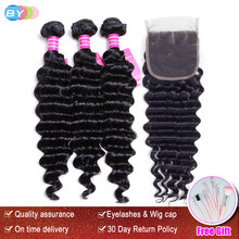BY Hair Brazilian Hair Weave Bundles With Closure 3 Bundle With Lace Closure Remy Human Hair Deep Wave Bundles With Closure(China)