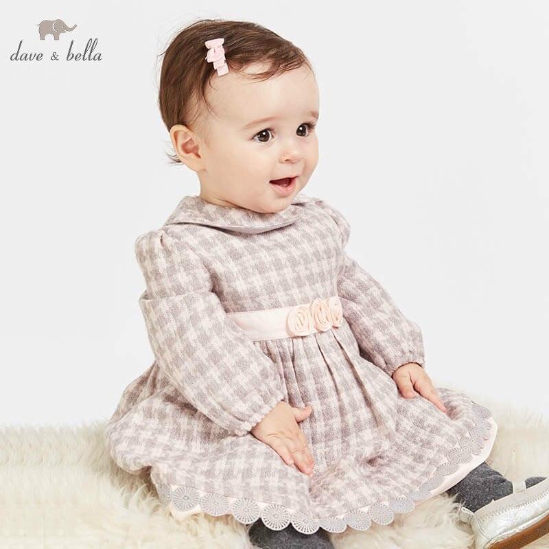 DBJ8657 1 dave bella baby girls dress Long sleeve autumn dresses kids girls dress children birthday