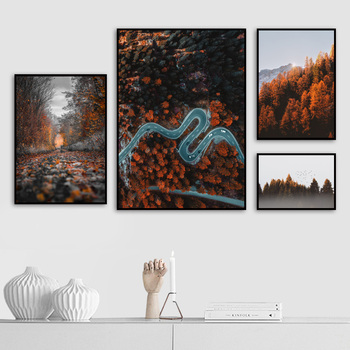Mountain Forest Maple Leaf Landscape Wall Art Canvas Painting Nordic Posters And Prints Wall Pictures For Living Room Home Decor blue sky snow mountain forest landscape wall art canvas painting nordic posters and prints wall pictures for living room decor