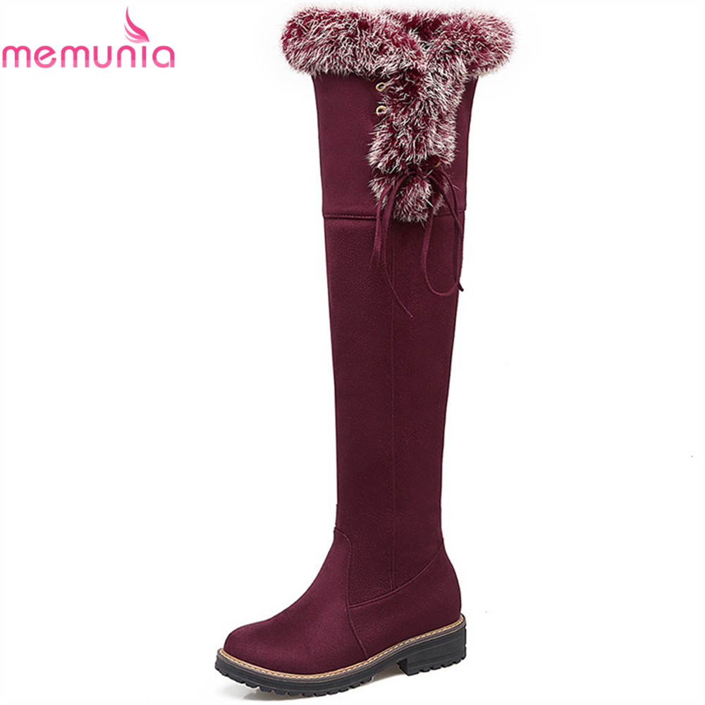 MEMUNIA black gray brown women boots round toe zipper ladies boots flock square heel cross tied comfortable over the knee boots memunia black pointed toe fashion women boots zipper kid suede boots square heel leather cross tied sexy over the knee boots