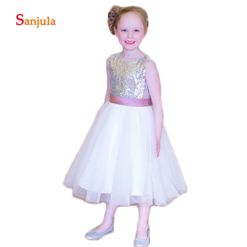 Top Sequins White Tulle   Flower     Girls     Dresses   Tea-Length   Girls   Pageant Party   Dress   Back Bow abiti comunione bambina D175