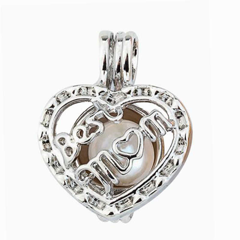 Pearl Cage Jewelry Findings Cage Love Best Mom Locket Pendant Essential Oil Diffuser Locket For Oyster Pearl Women Men Chain