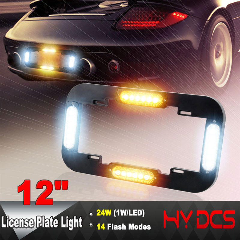 цена на USA Standard Car Led Light Number License Plate Lamp Flash Warning Strobe Lights Amber Yellow Blue White Car Lamp 12/24V