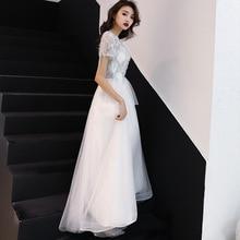 Plus Size 2019 Evening Dress Elegant Lace White Short Sleeves Formal Prom Sequined A-line Zipper Long Robe De Soiree E409