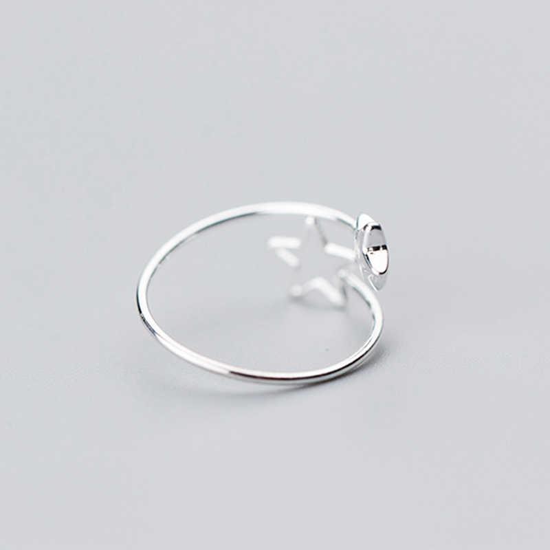 NBSAMENG 100% 925 เงินสเตอร์ลิง 2 Star Hollow ขนาด 5 6 7 เปิดแหวนปรับสำหรับหญิงสาวของขวัญที่ยอดเยี่ยมแหวนเครื่องประดับ