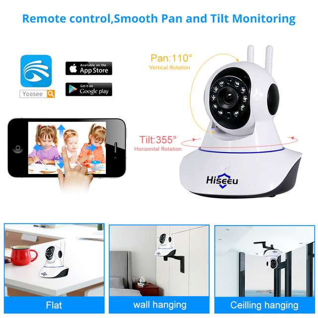 Hiseeu 1080P 1536P IP Camera Wireless Home Security Camera Surveillance Camera Wifi Night Vision CCTV Camera 2mp Baby Monitor 4