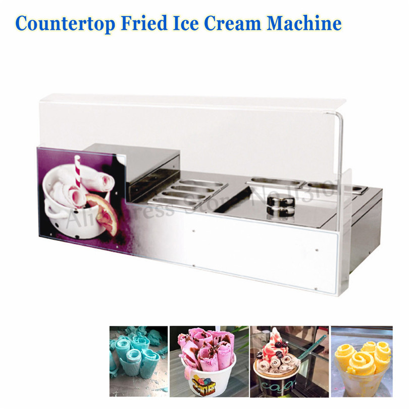 Counter Top Fried Ice Cream Roll Machine Commercial Ice Yogurt Rolls Freezer Square Pan with 6 Pots ce fried ice cream machine stainless steel fried ice machine single round pan ice pan machine thai ice cream roll machine