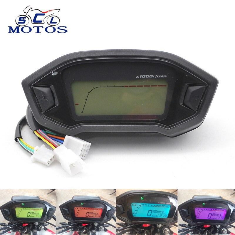 Sclmotos- Universal Adjustable Motorcycle LCD Digital Speedometer Odometer Backlight Motorcycle KMH Gauge for 1,2,4 Cylinders