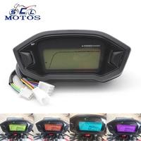 Sclmotos Universal Adjustable Motorcycle LCD Digital Speedometer Odometer Backlight Motorcycle KMH Gauge for 1,2,4 Cylinders