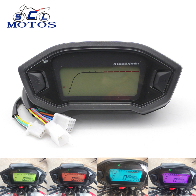 Sclmotos- Universal Adjustable Motorcycle LCD Digital Speedometer Odometer Backlight Motorcycle KMH Gauge for 1,2,4 Cylinders image