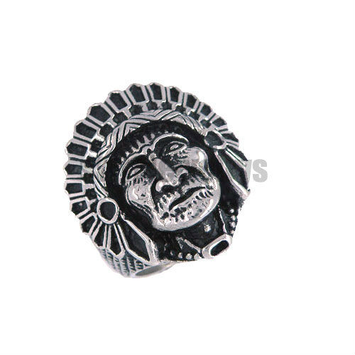 Free shipping! Indian Apache Chief Skull Ring Retro Unique Stainless Steel Classical Indian Ring Men Jewelry SWR0003