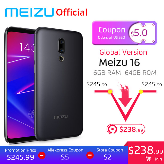 Meizu 16 6GB 64GB Global Version Smartphone Snapdragon 710 Octa Core Mobile Phone Front 20MP 3100mAh In-Screen Fingerprint