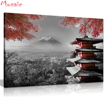 DIY Diamond Painting Japanese Temple Autumn Black White Red scenery Cross Stitch Mosaic diamond embroidery Needlework Patterns