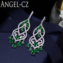 ANGELCZ Boho Ethnic Style Cubic Zirconia Jewelry Flawless Teardrop Green Natural Stone Prom Long Hanging Earring For Women AE099