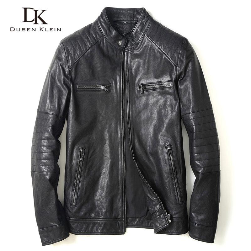 Vegetable tanned leather Jacket for Men Genuine sheepskin Motorycyle/Slim designer leather Coat black/red U8163A