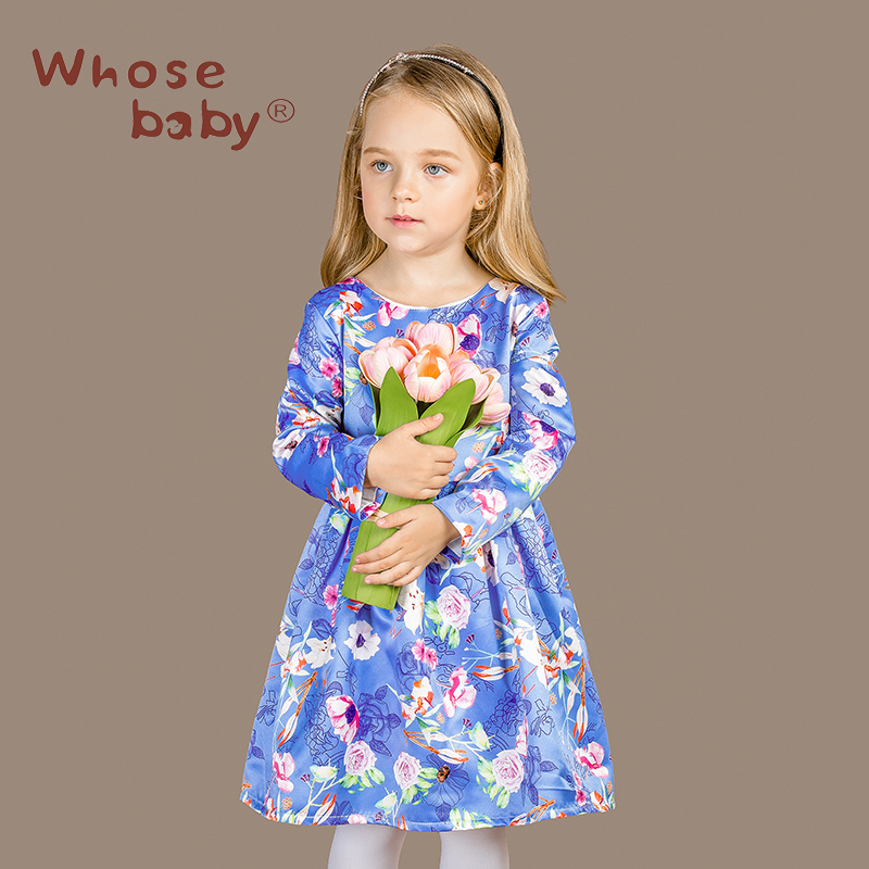ФОТО 2016 New Arrival Girl's Pink And Blue flower Printing Autumn Winter Dresses Children Brithday Party Long Sleeve Wedding Clothing