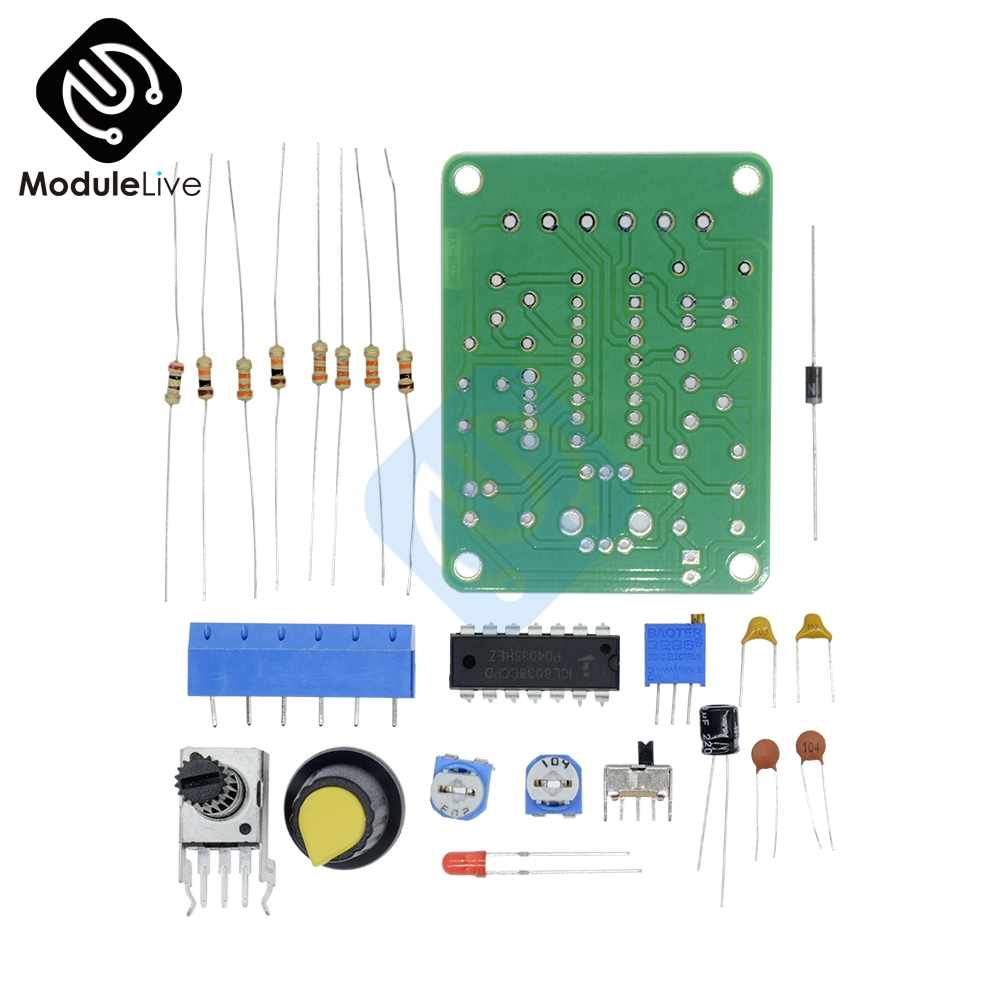 1 Set ICL8038 Monolithic Function Signal Generator Module DIY Kit Sine Square Triangle Electronic Board DC 12V Square Wave square chopping board