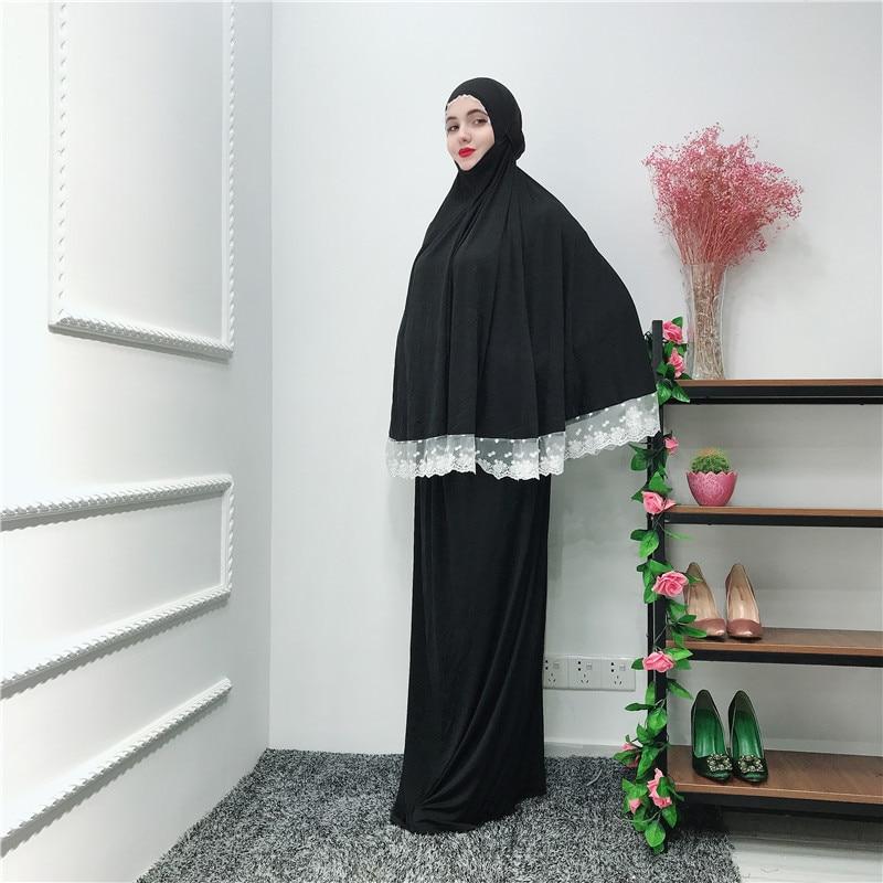 Musulman noir visage couverture Ramadan militaire Bonnet islamique Khimar longue boucle écharpe Jilbab prière vêtements foulard Abaya Ramadan - 6