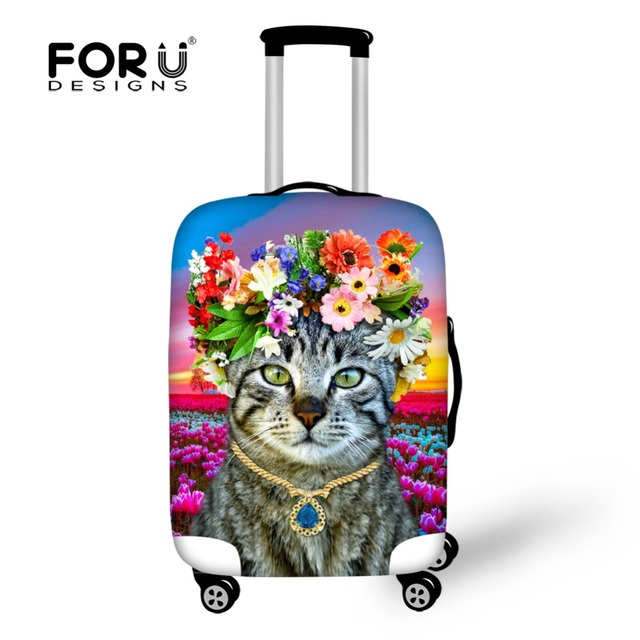 Thick Luggage Cover Flower Luggage Case Cover Stretch Suitcase Protective 18-30Inch Cover Cute Cat Elastic Rain Cover for Travel