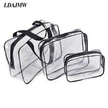 LDAJMW 3pcs/set High Quality Waterproof PVC Cosmetics Makeup Storage Bags Toiletries Underwear Bra Organizers for Travel Handbag