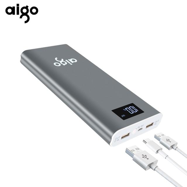 Aigo Мощность Bank 20000 мАч Для Сяо mi 2 USB быстрая зарядка Портативный повербанк для iPhone X 8 7 6 5 плюс 20000 мАч телефон Мощность банк
