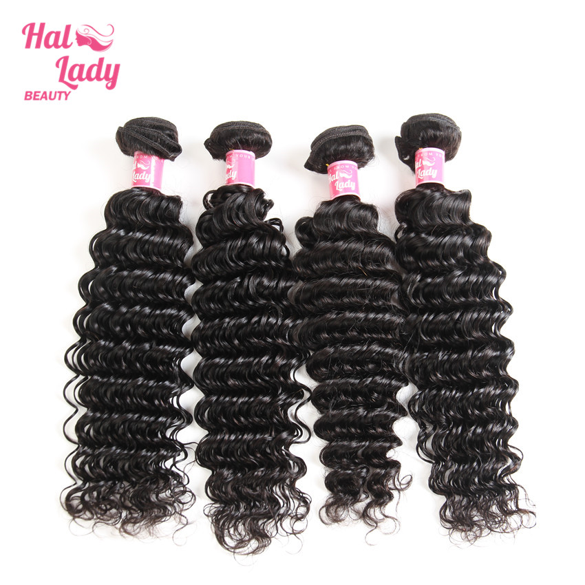 Halo Lady Beauty Indian Deep Wave Hair Extensions 4 Bundles Lot 100% Human Hair Weaves Color 1B Remy Hair Wefts 8-26 INCHES