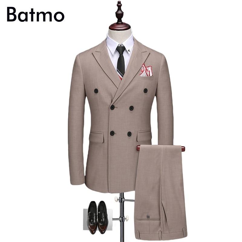 Batmo 2017 outono nova chegada de alta qualidade smart casual ternos cinza homens, double breasted ternos magros dos homens, além de-tamanho TZ08