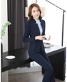 Fashion Dark blue Blazer Women Business Suits Formal Office Suits Work Wear Pant and Jacket Sets Beauty Salon Uniforms