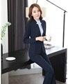 Moda azul Escuro Blazer Mulheres de Negócio Ternos Escritório Formal Ternos Trabalho Desgaste Conjuntos de Calça e Jaqueta Uniformes Salão de Beleza