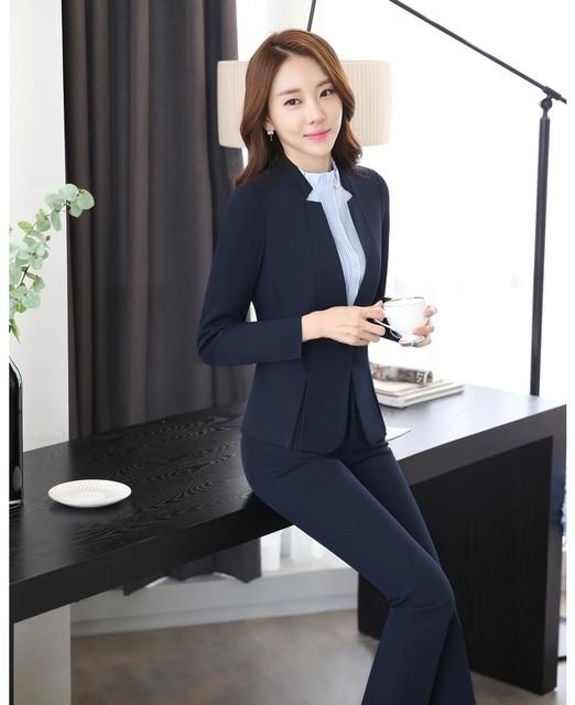 Moda azul oscuro Blazer mujer negocios trajes Formal Oficina trajes ropa de  trabajo pantalones y chaqueta f15b10bd8ef