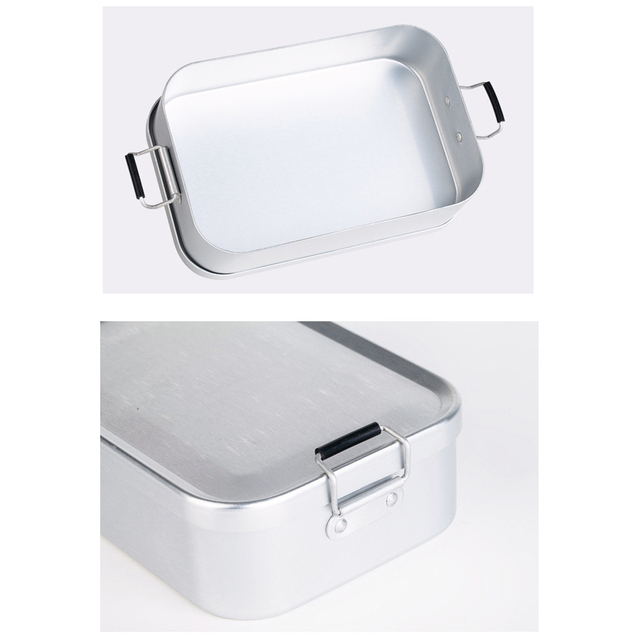 Portable Aluminum Lunch Box Bento Food Container Mess Tin 850/810ML Camping Picnic BBQ for Students Hiking Survival Travel Acces 2