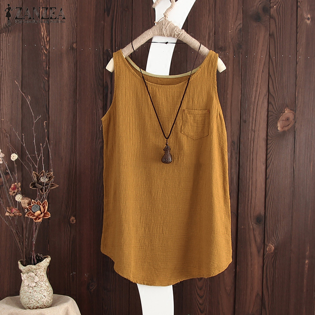 8a7b7741d273 Plus Size S 5XL 2018 Summer ZANZEA Blouse Women Casual Linen Cotton Vest  Tank Tops Sleeveless Shirt Baggy Blusas Blusa Feminina