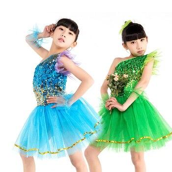 dance costumes girls dance dress one shoulder ballet costume sequin jazz performance dress for girls dance tutu jazz costumes недорого