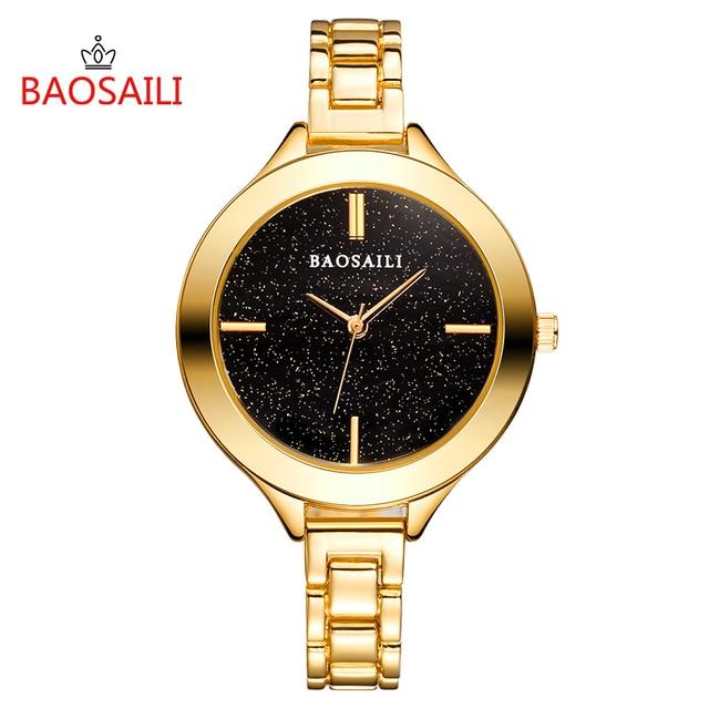 BSL1049 BAOSAILI Brand Ladies Black Full Star Dial Slim Bracelet Watch Japan Qua
