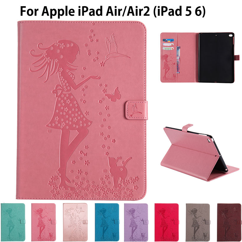 For Apple iPad air air2 Case High quality Girl Cat Embossed PU Leather Flip Stand Case For iPad 5 iPad 6 Cover Funda Skin Shell embossed tpu gel shell for ipod touch 5 6 girl in red dress