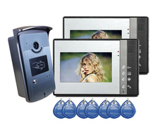 Freeship de dhl villa Video de La Puerta Sistema de Intercomunicación Del Teléfono inteligente 5 Keyfobs RFID Timbre Cámara 1 cámara y 2 Monitor de vídeo cámara
