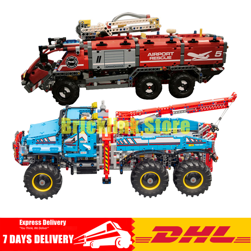 DHL Lepin Technic Series 20055 The Rescue Vehicle +20056 The Ultimate All Terrain 6X6 RC Truck Building Blocks Bricks Toys недорго, оригинальная цена