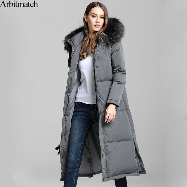088d343bccda Arbitmatch New Long Down Coats Winter Down Jacket Women Natural Large  Racoon Fur Collar Hooded Warm Thick Outwear Female Parka