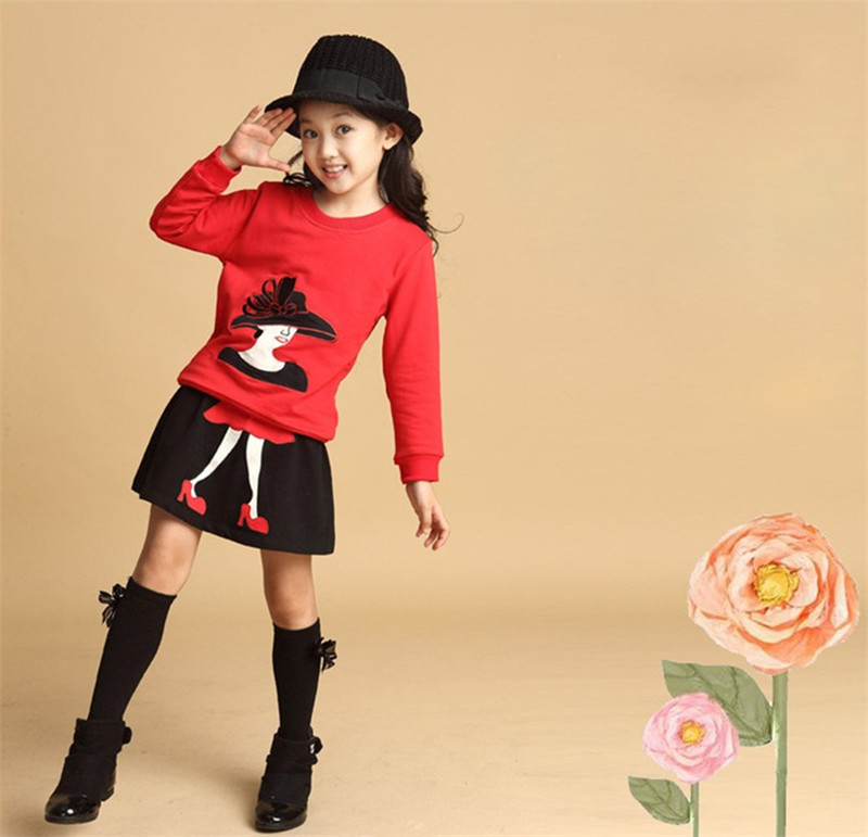 2018 Autumn Baby Girls Clothing Set Kids 2PCS Clothes Top Coat+Skirt Toddler Girls Long Sleeve Winter Outfit Christmas Costume