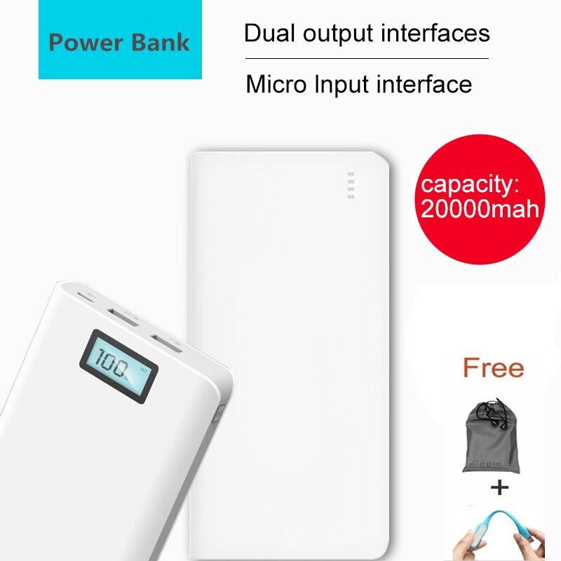 imágenes para Universal USB 20000 mah Portátil 18650 Powerbank con pantalla LCD Para el iphone xiaomi Banco de la Energía 20000 mah Carga de La Batería del teléfono