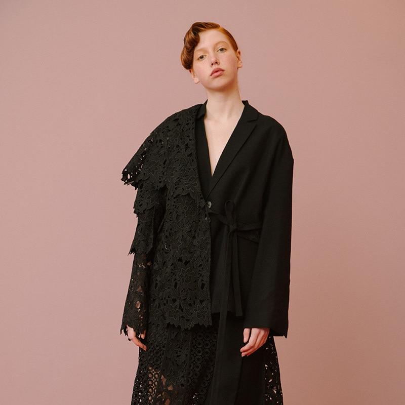 Dentelle Mode Lc165 Réglable eam Nouvelles gray De Black Spliced Haute 2019 Printemps Qualité Veste Vintage Contraste Couleur Taille Manteau Femmes xqYFgw